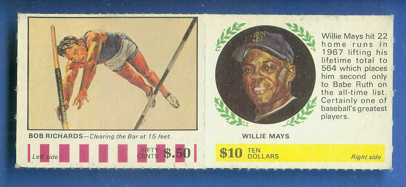 1968 Atlantic Oil - WILLIE MAYS/Bob Richards [#a] COMPLETE PANEL (Giants) Baseball cards value