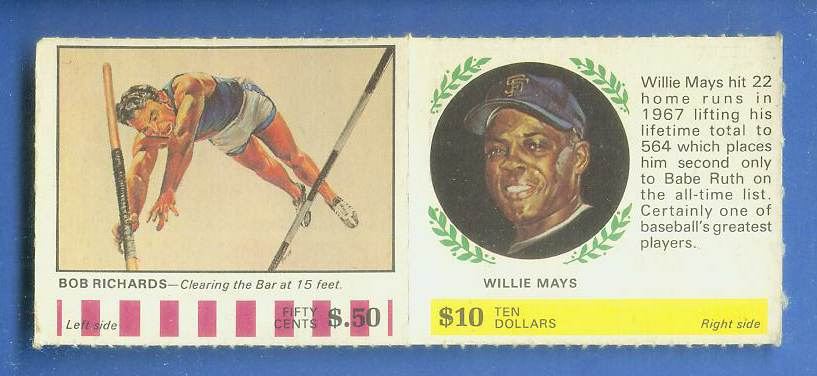 1968 Atlantic Oil - WILLIE MAYS/Bob Richards [#b] COMPLETE PANEL (Giants) Baseball cards value