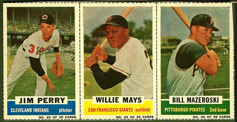 1961 Bazooka COMPLETE PANEL #22-24 WILLIE MAYS/Bill Mazeroski/Jim Perry Baseball cards value