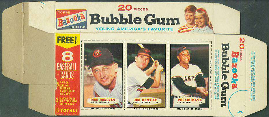 1963 Bazooka COMPLETE BOX #10-12 WILLIE MAYS/Jim Gentile/Dick Donovan Baseball cards value