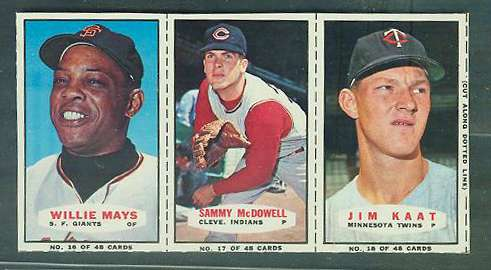 1967 Bazooka COMPLETE PANEL #16-18 WILLIE MAYS/Sam McDowell/Jim Kaat Baseball cards value