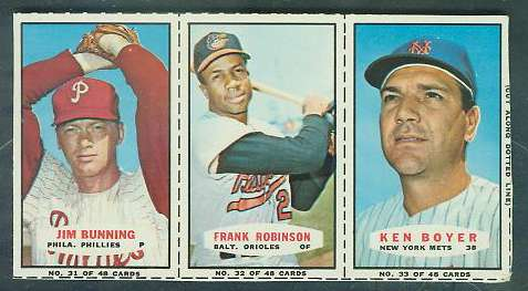 1967 Bazooka COMPLETE PANEL #31-33 FRANK ROBINSON/Jim Bunning/Ken Boyer Baseball cards value