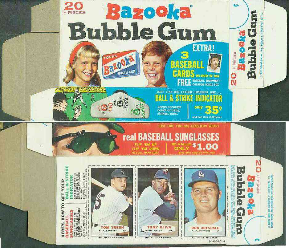 1967 Bazooka COMPLETE BOX #40-42 DON DRYSDALE/Tom Tresh/Tony Oliva Baseball cards value