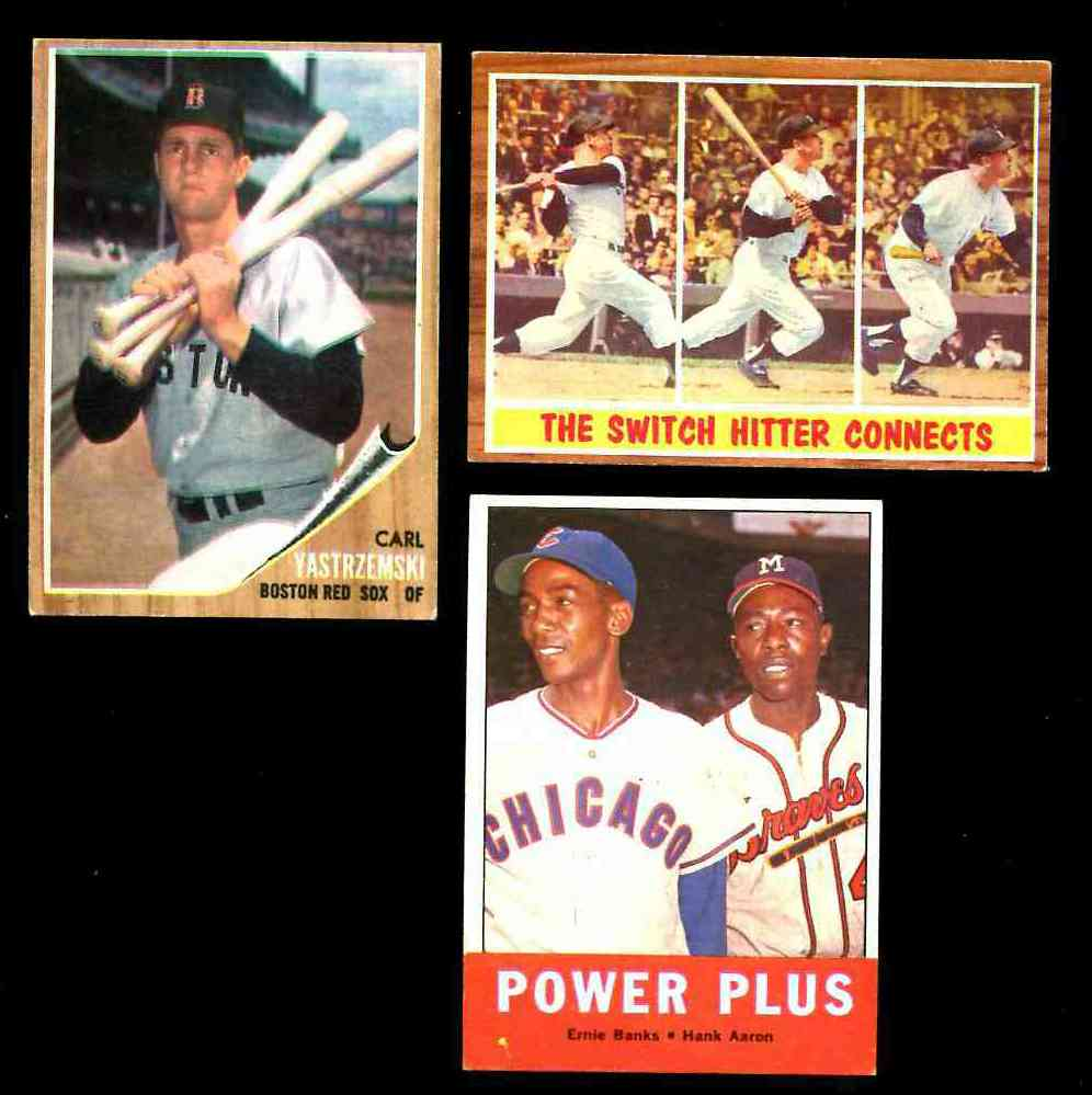1963 Topps #242 'Power Plus' (Hank Aaron/Ernie Banks) [#b] (Braves/Cubs) Baseball cards value