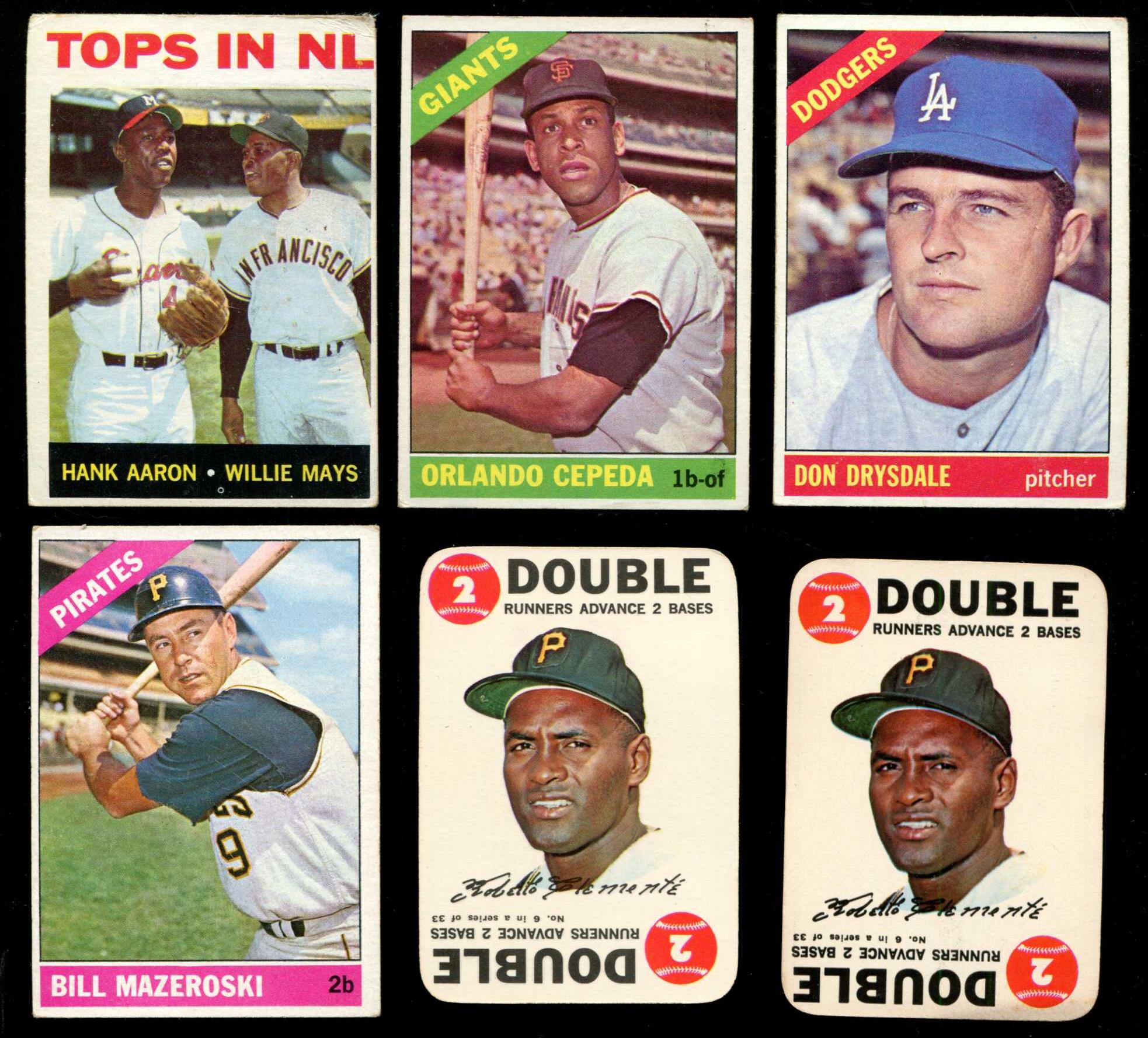 1964 Topps #423 'Tops in N.L.' (Hank Aaron/Willie Mays)[#r] (Braves/Giants) Baseball cards value