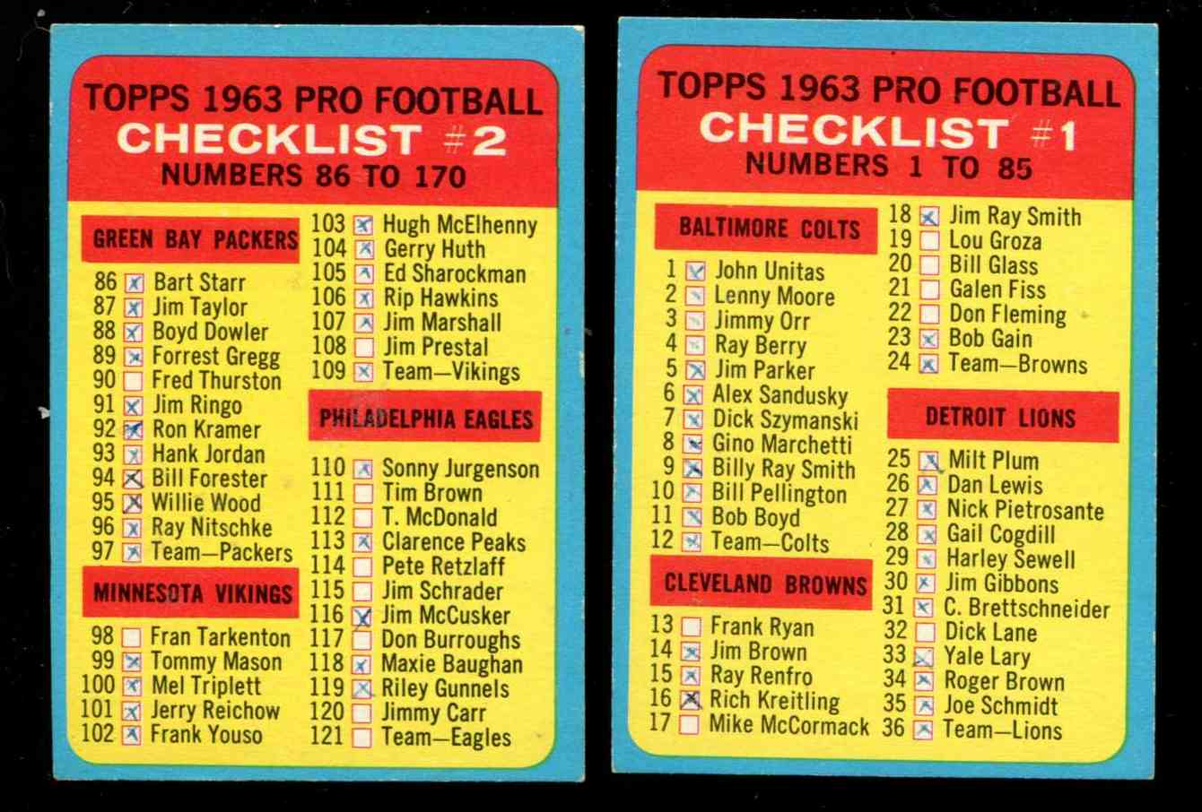 1963 Topps FB # 85 + #170 - Lot of Both Checklists [#dl] Football cards value