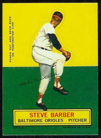 1964 Topps Stand-Ups/Standups - Steve Barber [#a] (Orioles) Baseball cards value