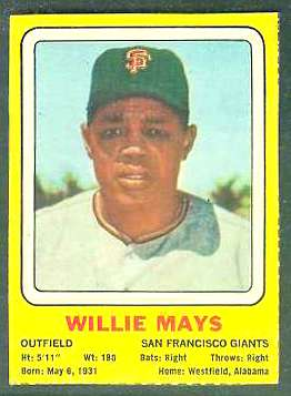1969 Transogram #34 Willie Mays (Giants) Baseball cards value