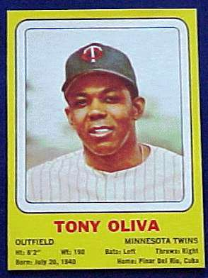 1969 Transogram #.7 Tony Oliva (Twins) Baseball cards value