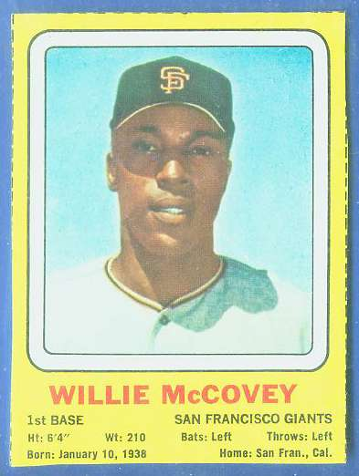 1969 Transogram #36 Willie McCovey (Giants) Baseball cards value