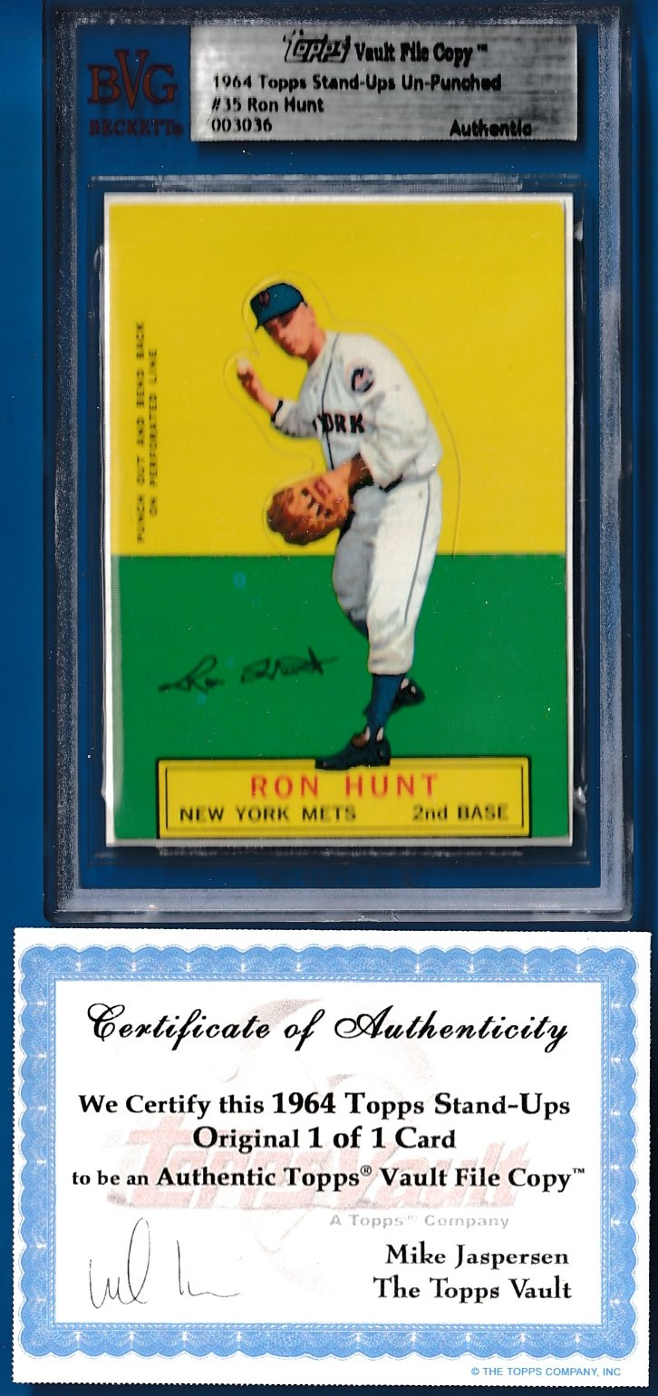 1964 Topps Stand-Ups #35 Ron Hunt TOPPS VAULT FILE COPY w/COA (Mets) Baseball cards value