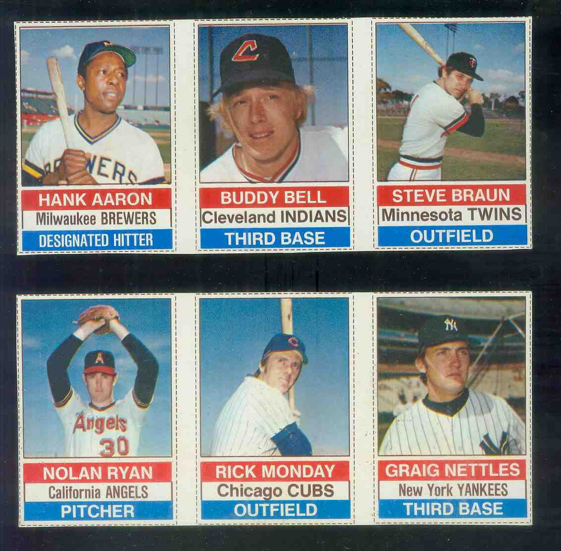1976 Hostess PANEL #.79-80-81 NOLAN RYAN/Rick Monday/Nettles (bd) Baseball cards value