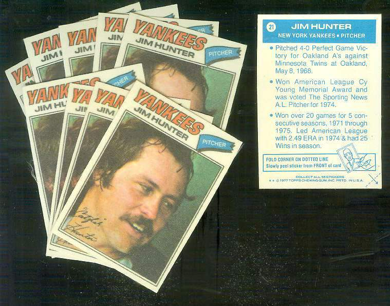 1977 Topps Cloth Stickers #21 Jim 'Catfish' Hunter - Lot of (10) (Yankees) Baseball cards value