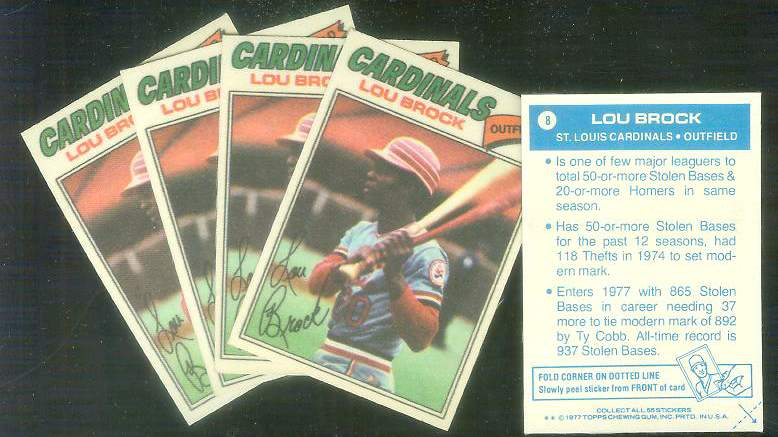 1977 Topps Cloth Stickers #.8 Lou Brock - Lot of (5) (Cardinals) Baseball cards value