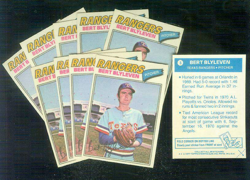 1977 Topps Cloth Stickers #.5 Bert Blyleven - Lot of (10) (Rangers) Baseball cards value