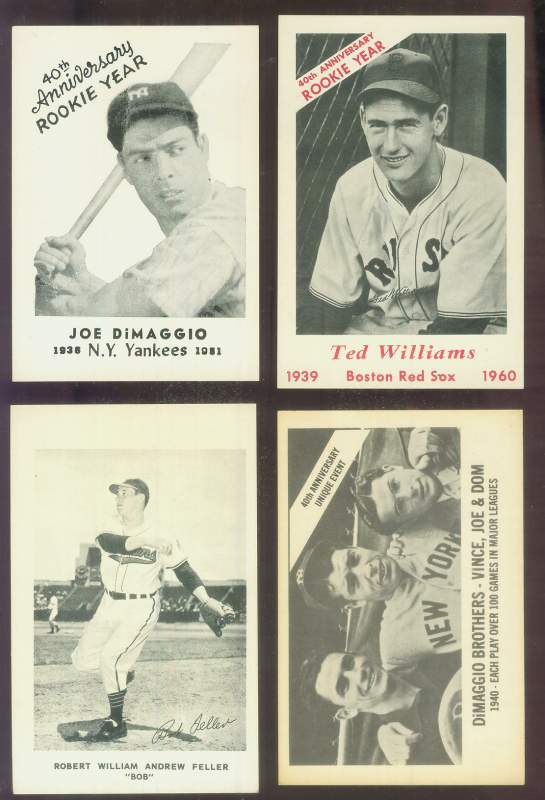 1976  - JOE DIMAGGIO New England Sports Collectors 40th Anniv. POSTCARD Baseball cards value