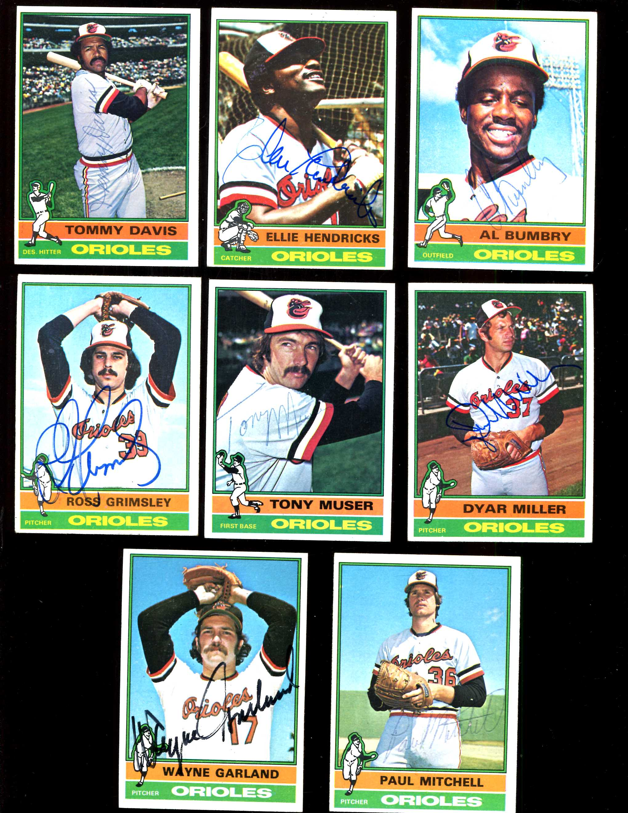 1976 Topps AUTOGRAPHED ORIOLES - Lot (9) diff. w/LOA Baseball cards value