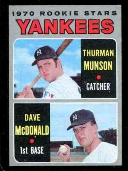 1970 Topps #189 THURMAN MUNSON ROOKIE [#a] (Yankees) Baseball cards value