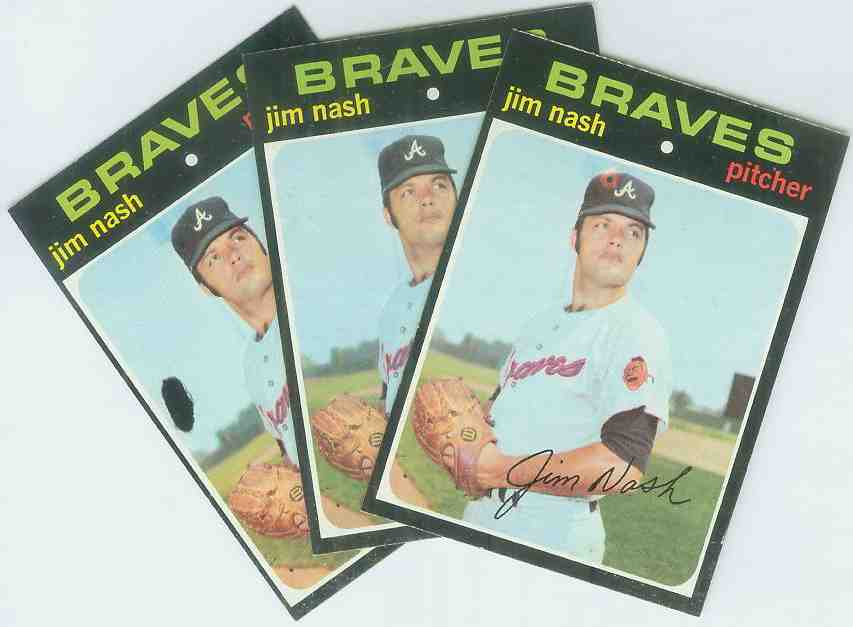 1971 Topps #306c Jim Nash [Red bullseye on cap variation] (Braves) Baseball cards value