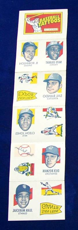 1971 Topps TATTOOS COMPLETE Sheet #.1: Juan Marichal,Brooks Robinson ... Baseball cards value