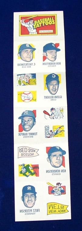 1971 Topps TATTOOS COMPLETE Sheet #.2: Carl Yastrzemski (2 diff.) & more Baseball cards value