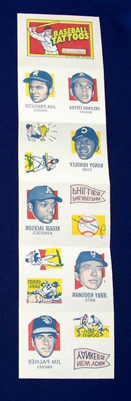 1971 Topps TATTOOS COMPLETE Sheet #.3: Reggie Jackson,Jim Palmer & more Baseball cards value