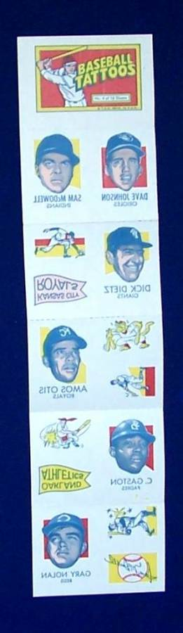 1971 Topps TATTOOS COMPLETE Sheet #.4: Sam McDowell (2 diff.) & more Baseball cards value
