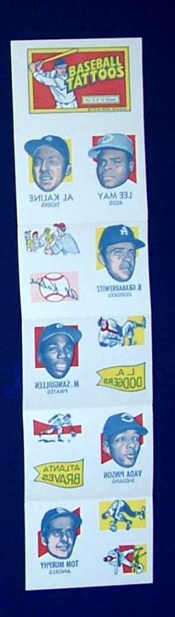1971 Topps TATTOOS COMPLETE Sheet #.5: Al Kaline (2 diff),Vada Pinson Baseball cards value