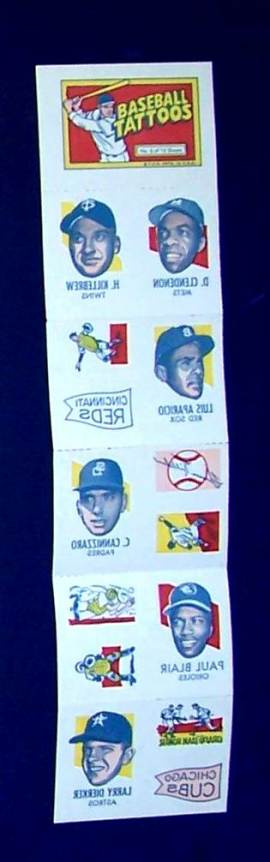 1971 Topps TATTOOS COMPLETE Sheet #.6: Aparicio,Harmon Killebrew (2 diff.) Baseball cards value