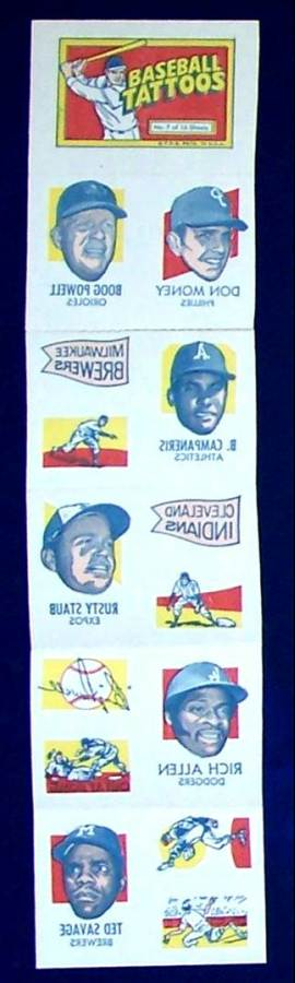 1971 Topps TATTOOS COMPLETE Sheet #.7: Rich Allen,Boog Powell (2 diff.) Baseball cards value