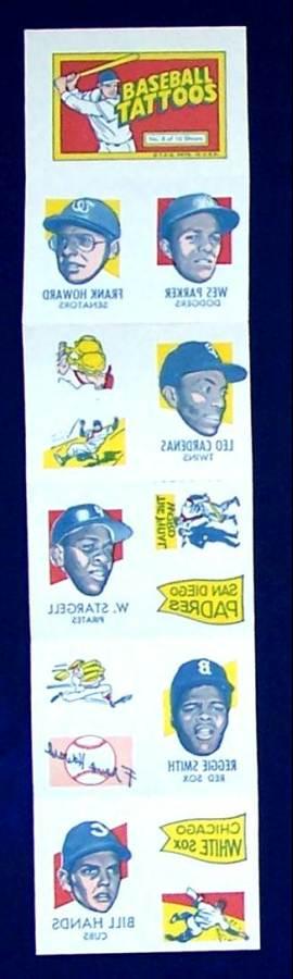 1971 Topps TATTOOS COMPLETE Sheet #.8: Willie Stargell,Frank Howard & more Baseball cards value