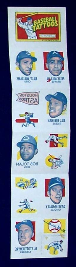1971 Topps TATTOOS COMPLETE Sheet #12: Billy Williams (2 diff.) & more Baseball cards value