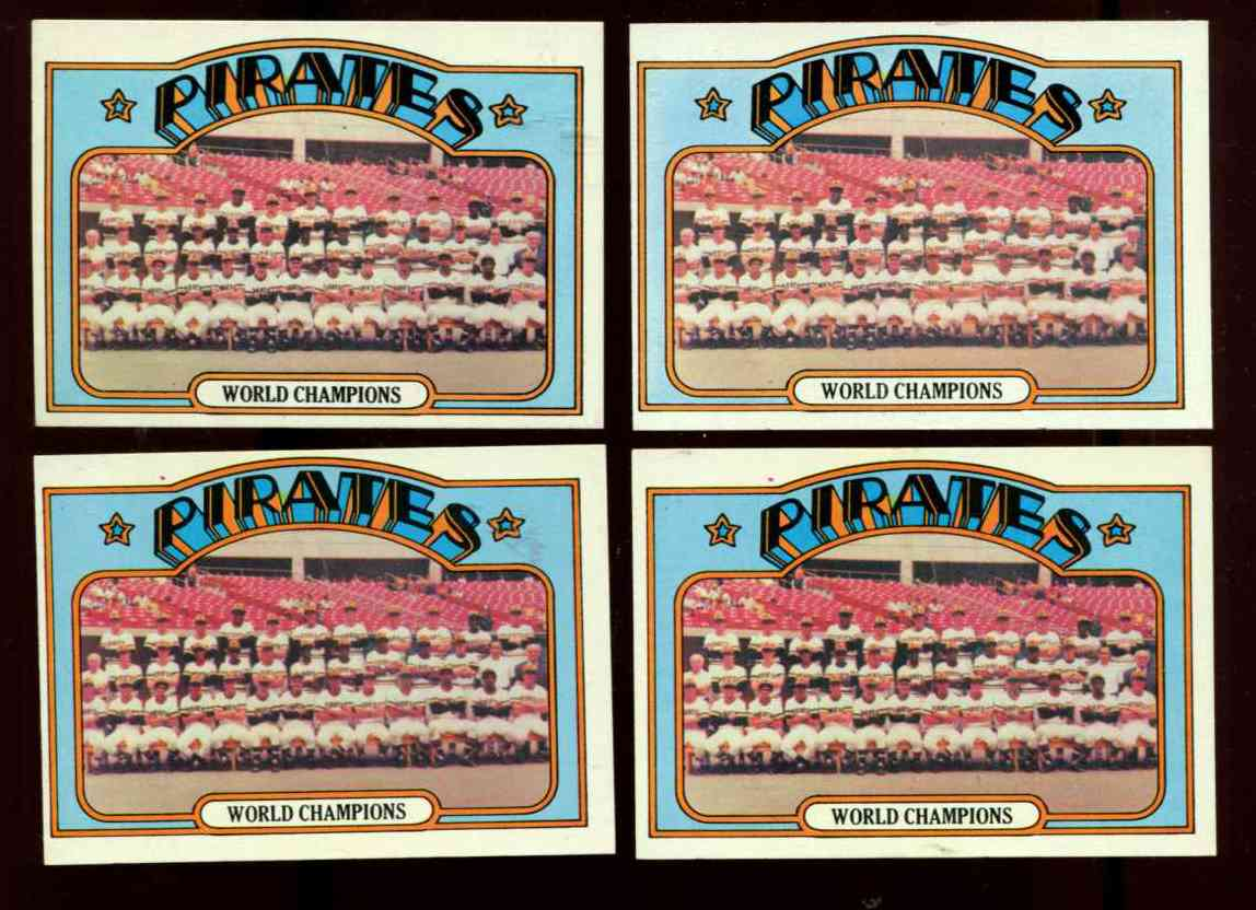 1972 Topps #  1 WORLD CHAMPIONS Pittsburgh Pirates TEAM card [VAR:Red Dot] Baseball cards value