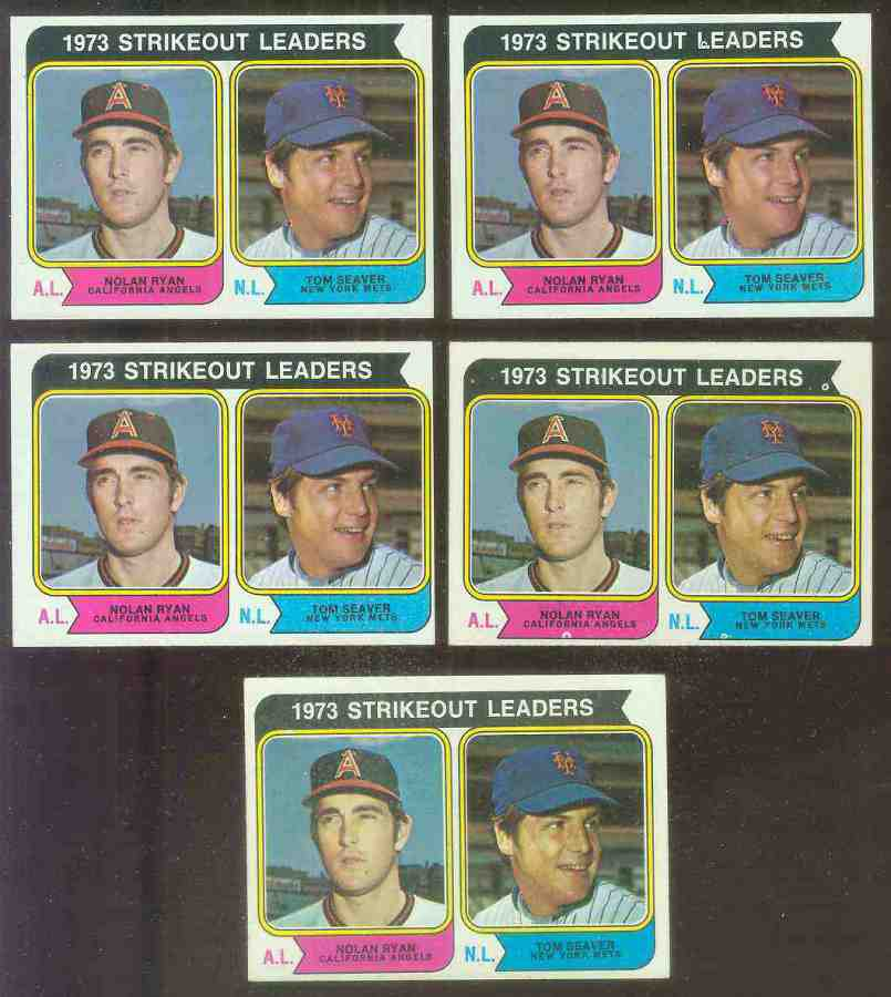 1974 Topps #207 Strikeout Leaders [#b](Nolan Ryan/Tom Seaver)(Angels/Mets) Baseball cards value