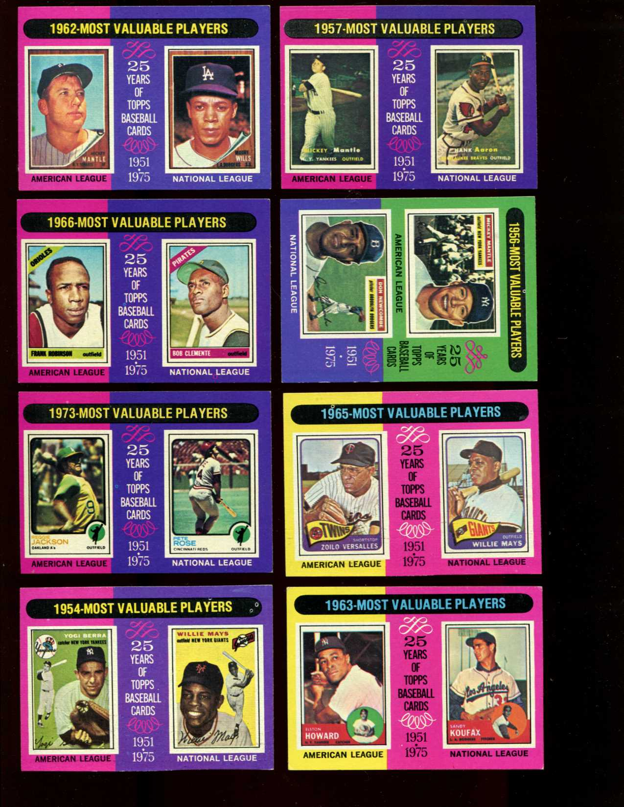 1975 Topps #189 to #212 MVP's NEAR SUBSET (23/24 cards) Baseball cards value