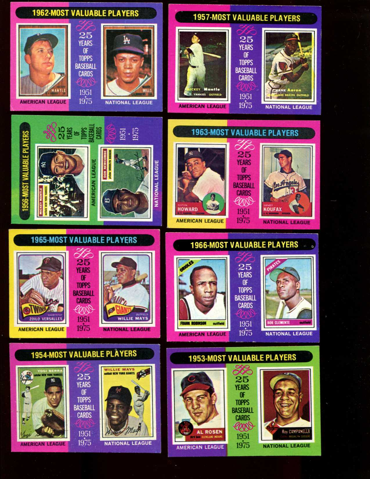 1975 Topps #189 to #212 MVP's COMPLETE SUBSET (24/24 cards) Baseball cards value