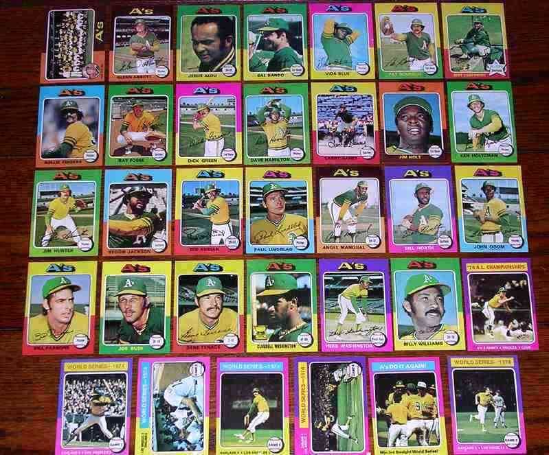 A's (27) - 1975 Topps COMPLETE TEAM SET Baseball cards value