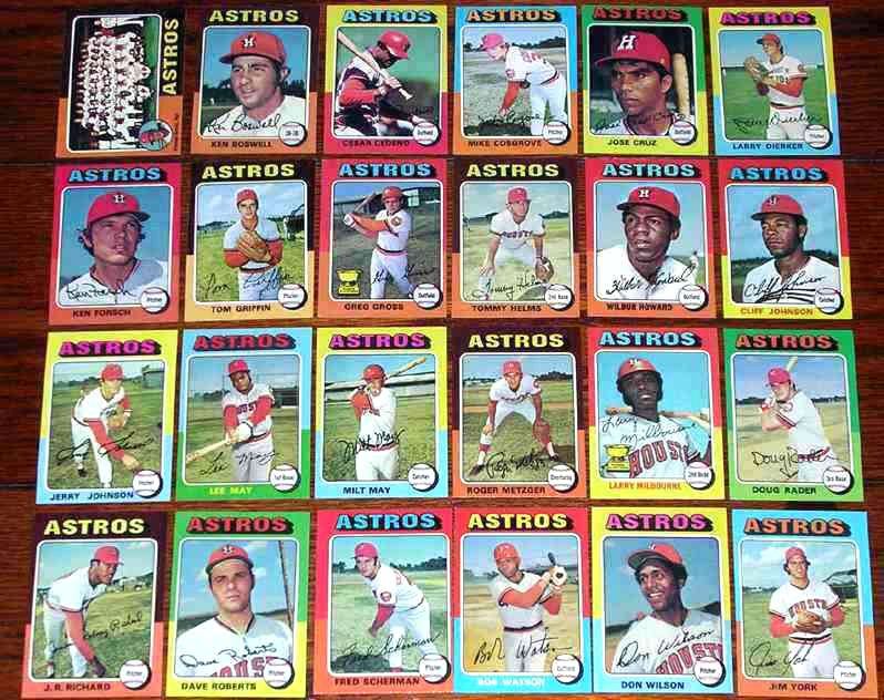 ASTROS (24) - 1975 Topps COMPLETE TEAM SET Baseball cards value