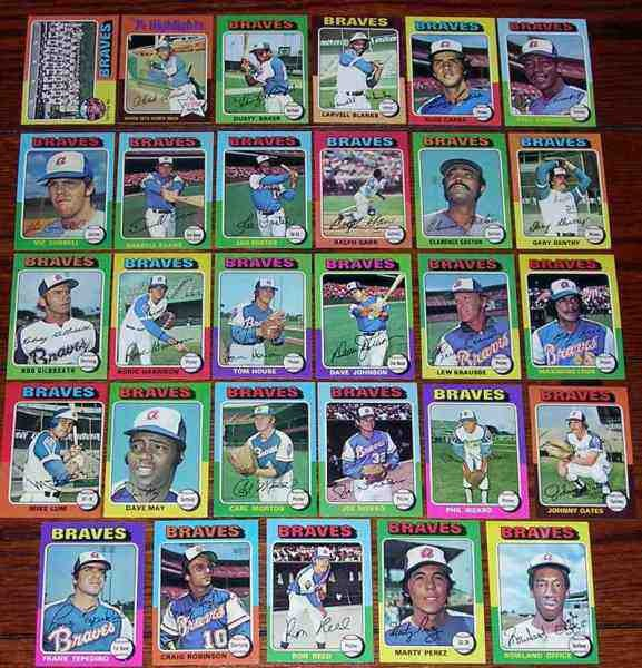 BRAVES (28) - 1975 Topps COMPLETE TEAM SET Baseball cards value