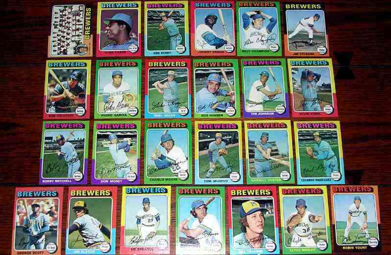 BREWERS (24/25) - 1975 Topps partial TEAM SET Baseball cards value