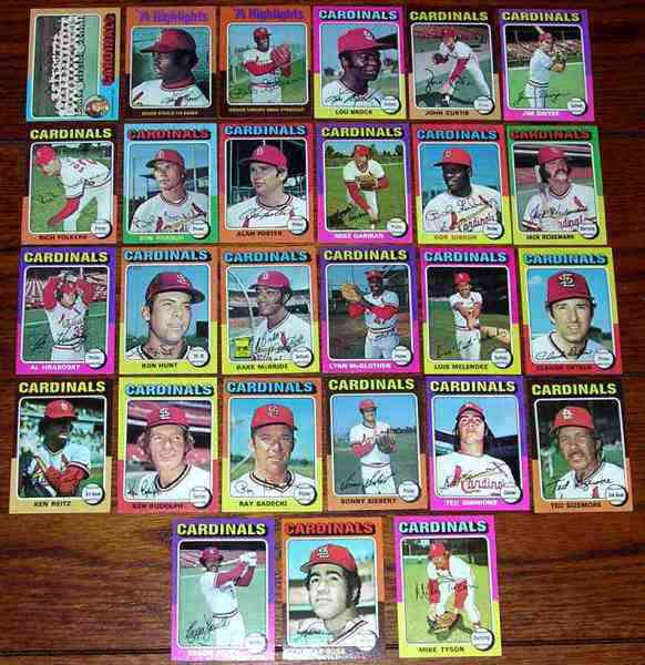 CARDINALS (25) - 1975 Topps COMPLETE TEAM SET Baseball cards value