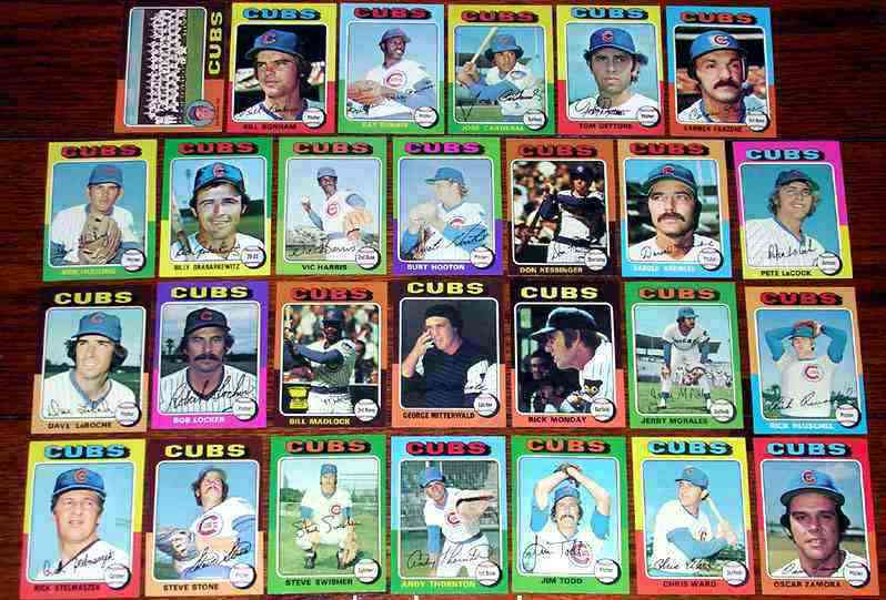 CUBS (26/27) - 1975 Topps NEAR COMPLETE TEAM SET Baseball cards value