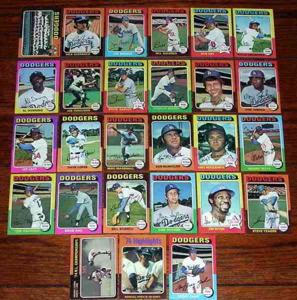DODGERS (25) - 1975 Topps COMPLETE TEAM SET Baseball cards value