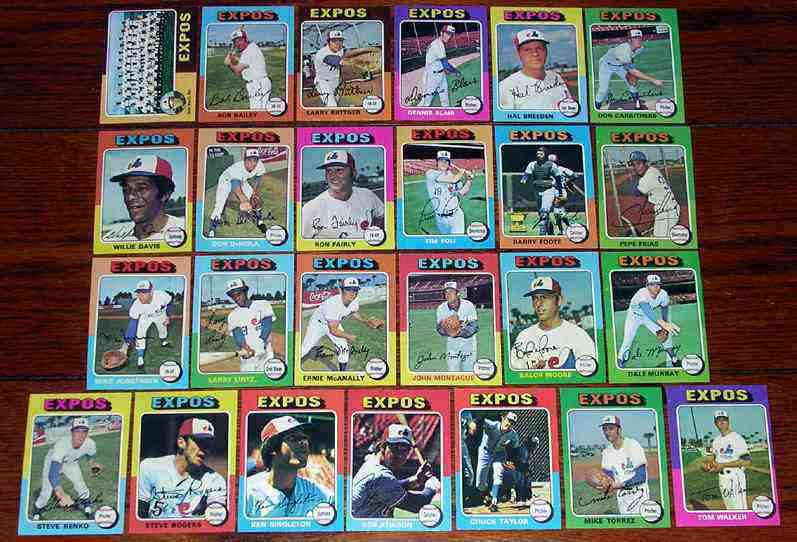 EXPOS (25) - 1975 Topps COMPLETE TEAM SET Baseball cards value