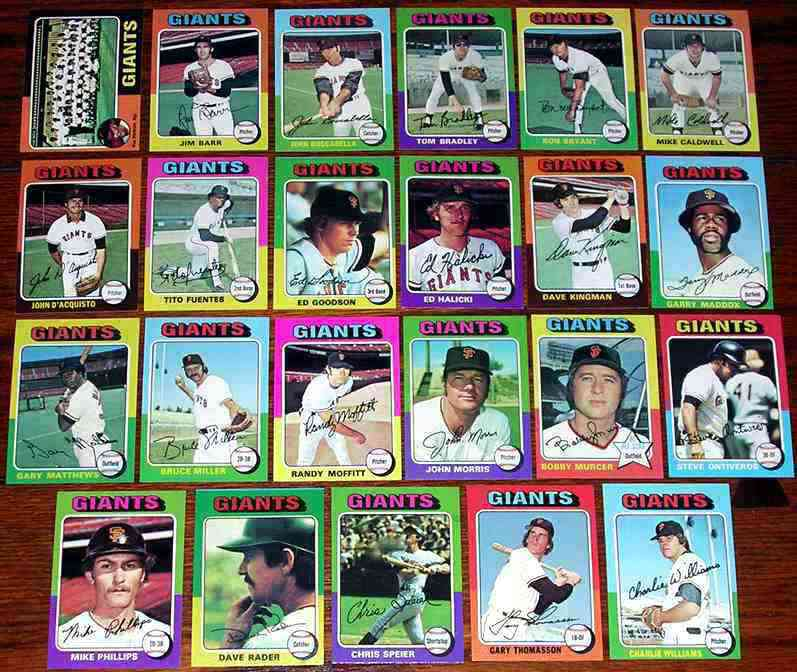 GIANTS (23) - 1975 Topps COMPLETE TEAM SET Baseball cards value