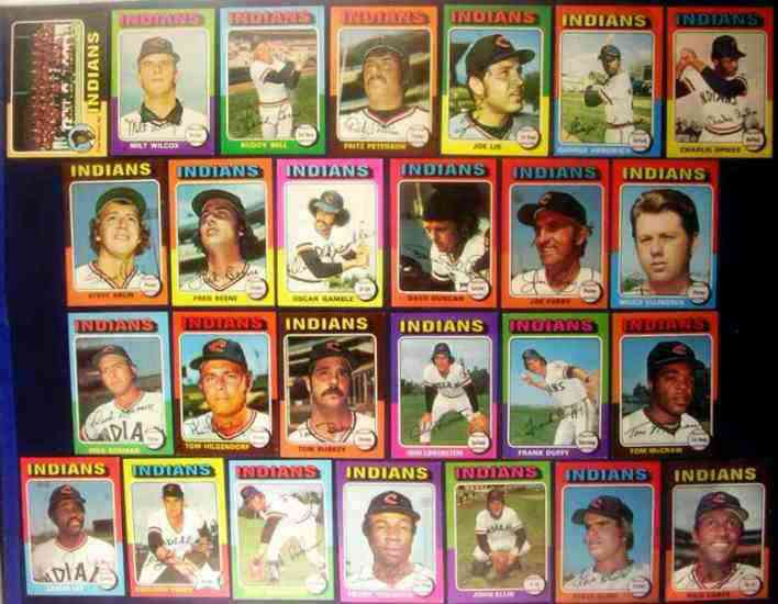 INDIANS (26) - 1975 Topps COMPELTE TEAM SET Baseball cards value