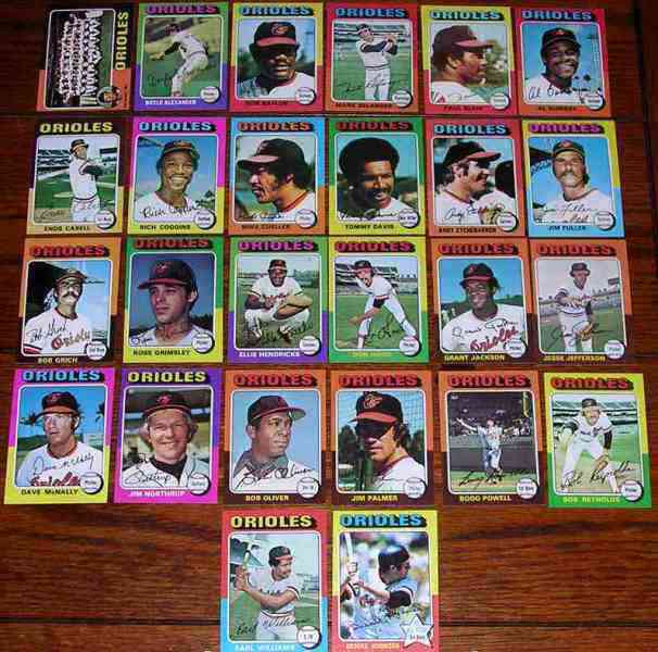 ORIOLES (26) - 1975 Topps COMPLETE TEAM SET Baseball cards value