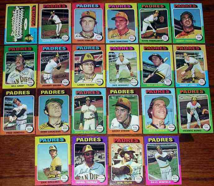 PADRES (22) - 1975 Topps COMPLETE TEAM SET Baseball cards value
