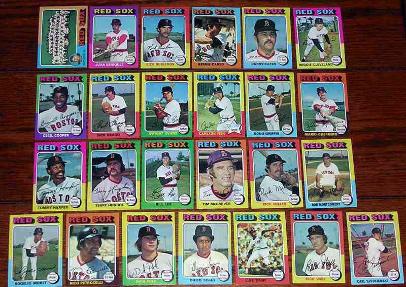 RED SOX (25) - 1975 Topps COMPLETE TEAM SET Baseball cards value