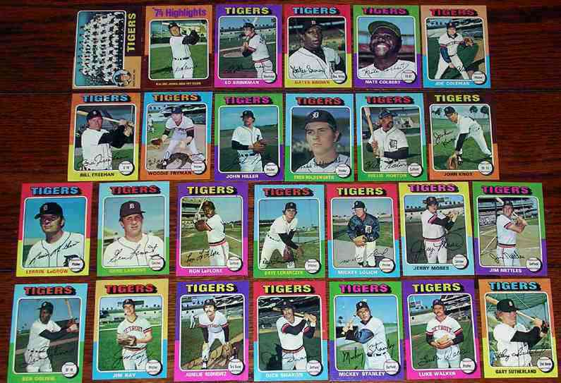 TIGERS (25) - 1975 Topps COMPLETE TEAM SET Baseball cards value